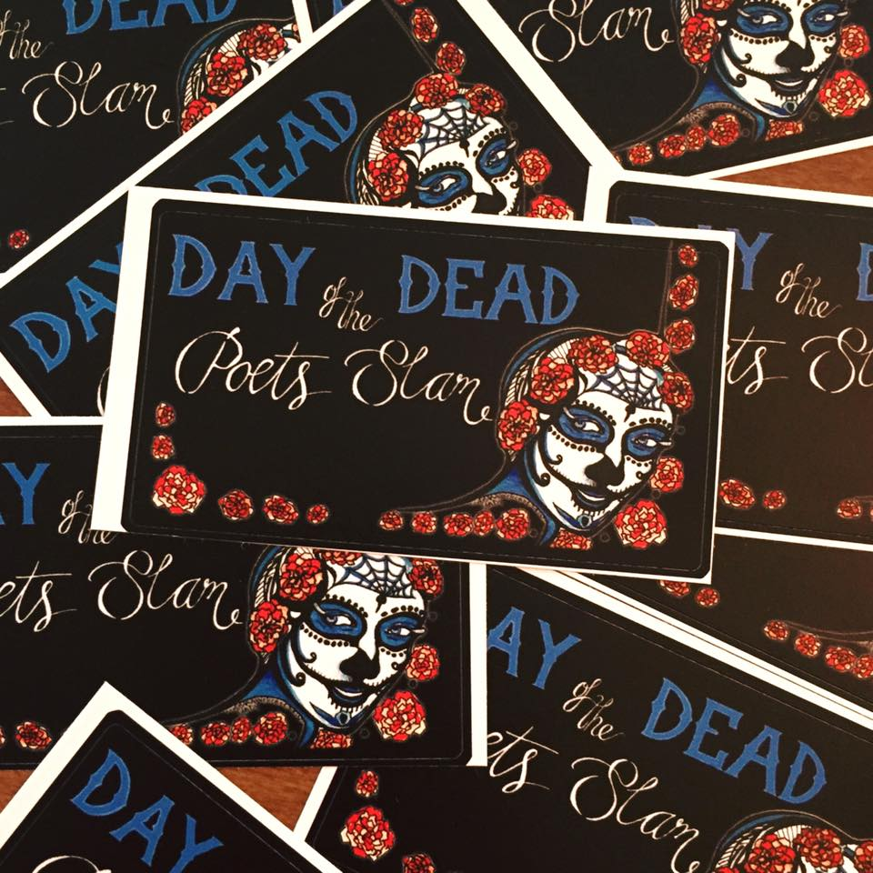 Stickers day of the dead poets slam for Day of the dead mural